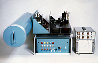 0185539 © Granger - Historical Picture ArchivePOLLUTION DETECTOR, c1980.   A non-dispersive GAS filter spectrometer (GASPEC), an infrared/ultraviolet gas analyzer used to detect trace elements in air pollution investigations, which can be used on the ground or on spacecraft,developed for NASA. Photograph, c1980.