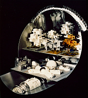 0186243 © Granger - Historical Picture ArchiveSPACE HABITAT, 1976.   Model of a cross-section of a cylindrical space colony. At top is a housing complex, at bottom is part of the transportation system. American, 1976.