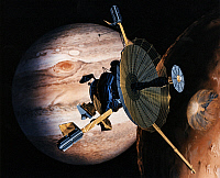 0186296 © Granger - Historical Picture ArchiveSPACE: GALILEO, 1989.   Conceptual artwork of the Galileo spacecraft above Jupiter. Illustration, 1989.