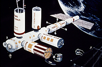 0268720 © Granger - Historical Picture ArchiveSPACE COLONY, c1976.   Conceptual illustration of a space industrial facility, c1976.
