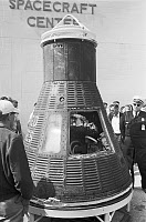 0621548 © Granger - Historical Picture ArchiveMERCURY-ATLAS 6 CAPSULE, 1962. The Friendship 7 capsule from the Mercury-Atlas 6 spaceflight, in which Astronaut John Glenn became the first American to orbit Earth. Photograph by Thomas O'Halloran, 21 February 1962.