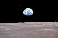 0184424 © Granger - Historical Picture ArchiveAPOLLO 11: EARTH, 1969.   View of Earth rising over Moon's horizon, taken from the Apollo 11 spacecraft. Photograph, 1969.
