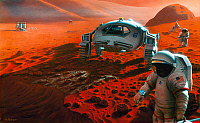 0185409 © Granger - Historical Picture ArchiveMARS: EXPLORATION.   Conceptual artwork of a robotic lander, rover and astronauts on Mars. Painting by Pat Rawlings, 1995.