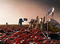 0185413 © Granger - Historical Picture ArchiveMARS: EXPLORATION.   Conceptual artwork of astronauts visiting the site of the Viking 2 Lander on Mars. Painting by Pat Rawlings, 1991.