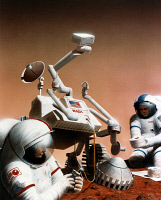 0185414 © Granger - Historical Picture ArchiveMARS: EXPLORATION.   Conceptual artwork of astronauts replacing the wheel motors on a Mars rover. Painting by Pat Rawlings, 1995.