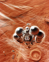 0185418 © Granger - Historical Picture ArchiveMARS: EXPLORATION.   Conceptual artwork of a spacecraft ascending from the surface of Mars. Painting by Pat Rawlings, 1995.