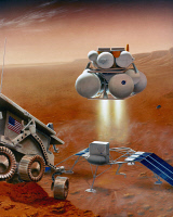 0185443 © Granger - Historical Picture ArchiveMARS: EXPLORATION.   Conceptual artwork of an ascent vehicle lifting off from the surface of Mars. Painting by Pat Rawlings, 1995.