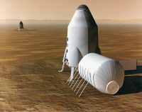 0185446 © Granger - Historical Picture ArchiveMARS: EXPLORATION.   Conceptual artwork of a spacecraft on Mars. Illustration by John Frassanito and Associates, 1997.