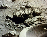 0185684 © Granger - Historical Picture ArchiveVIKING 2: MARS, 1976.   The first photograph of the Viking 2 landing site on the surface of Mars. Part of the Viking 2 Lander's footpad appears in the right foreground. Photographed by the Viking 2 Lander, 3 September 1976.