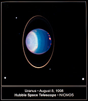 0185693 © Granger - Historical Picture ArchiveURANUS, 1998.   False-color image of Uranus surrounded by its four major rings and 10 of its 17 known satellites, photographed by NASA's Hubble Space Telescope, 8 August 1998. The gray area over part of the planet's surface indicates where its atmosphere is cloudiest.