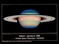 0186019 © Granger - Historical Picture ArchiveSATURN, 1998.   False-color view of Saturn and the moons Dione (lower left) and Tethys (upper right), with darker colors indicating where the atmosphere is clearest. Two storm systems appear as white patches near the equator. Photographed by the Near Infrared Camera and Multi-Object Spectrometer (NICMOS) of the Hubble Space Telescope, 4 January 1998.