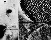 0186305 © Granger - Historical Picture ArchiveMARS: DUNES, 1972.   A view of a dune field (right) in Proctor Crater (lower left) on Mars. Photographed by the Mariner 9 spacecraft, 1972.