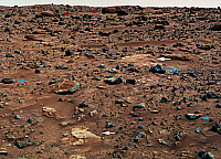 0186413 © Granger - Historical Picture ArchiveMARS: ROCKS, 1997.   Three types of rocks on Mars: Large, rounded, and weathered (red arrows); smaller, angular, and unweathered (blue arrows); and white and flat (white arrows), including Scooby Doo in the foreground. False-color version of a photograph taken by the Imager for Mars Pathfinder (IMP), July 1997.