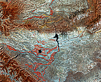0186611 © Granger - Historical Picture ArchiveEARTH FROM SPACE, c1980.   False-color image of an oil producing area in Wyoming, from Landsat satellite data collected c1980.