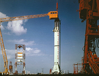 0322557 © Granger - Historical Picture ArchiveMERCURY-REDSTONE 3, 1961.   Preparations on the Mercury-Redstone 3 at Cape Canaveral, Florida. Photograph, 1961.