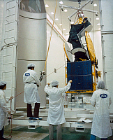 0185442 © Granger - Historical Picture ArchiveSATELLITE: INTELSAT V, 1980.   The INTELSAT V satellite is enclosed in a protective shroud for transport to the Explosive Safe Facility for final servicing and encapsulation at the Kennedy Space Center in Florida, prior to its launch. Photograph, 1980.