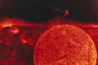 0322379 © Granger - Historical Picture ArchiveSOLAR FLARE, 1973.   An elbow prominence erupting from the surface of the sun. Photographed by Owen K. Garriott during Skylab 3, 9 August 1973.