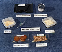 0184308 © Granger - Historical Picture ArchiveSPACE SHUTTLE FOOD, 1984.   Examples of types of food and containers used on U.S. Space Shuttle missions. Photograph, 1984.