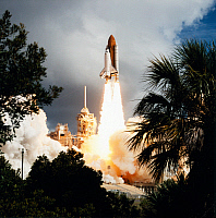 0184834 © Granger - Historical Picture ArchiveSPACE SHUTTLE LAUNCH, 1993.   Launch of the Space Shuttle Endeavour from Kennedy Space Center, Florida. Photograph, 21 June 1993.