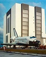 0185125 © Granger - Historical Picture ArchiveSPACE SHUTTLE COLUMBIA.   The Shuttle Orbiter Columbia is towed to the Orbiter Processing Facility at Kennedy Space Center in Florida, so that a suspect nozzle on a booster could be replaced. Photograph, 17 October 1983.