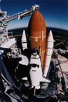 0185149 © Granger - Historical Picture ArchiveSPACE SHUTTLE ENDEAVOUR.   The Space Shuttle Endeavour on its launch pad at Kennedy Space Center in Florida. Photograph, c1996.