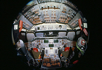 0322484 © Granger - Historical Picture ArchiveSPACE SHUTTLE CHALLENGER.   Fisheye view of the flight deck of the Space Shuttle Challenger. Photograph, c1983.