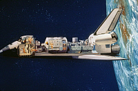 0322486 © Granger - Historical Picture ArchiveSPACE SHUTTLE CUTAWAY.   Illustration of a cutaway view of the Space Shuttle orbiter in space, 1977.