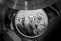 0350926 © Granger - Historical Picture ArchiveUSSR: SPACE PROGRAM.   Leonid Brezhnev and Fidel Castro at the Gagarin Cosmonaut Training Center in Star City, Russia, 1972. Full credit: ITAR-TASS Photo Agency / Granger, NYC -- All Rights Reserved.