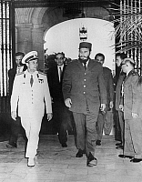 0350944 © Granger - Historical Picture ArchiveYURI GAGARIN (1934-1968).   Soviet cosmonaut and the first human in space. With Fidel Castro during a visit to Cuba, 1961. Full credit: ITAR-TASS Photo Agency / Granger, NYC -- All Rights Reserved.