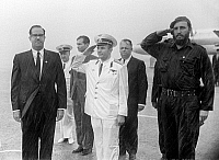 0350958 © Granger - Historical Picture ArchiveYURI GAGARIN (1934-1968).   Soviet cosmonaut and the first human in space. With Osvaldo Dorticos Torrado and Fidel Castro in an airport during a visit to Cuba, 1961. Full credit: ITAR-TASS Photo Agency / Granger, NYC -- All rights reserved.