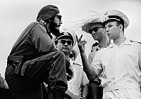 0350982 © Granger - Historical Picture ArchiveYURI GAGARIN (1934-1968).   Soviet cosmonaut and the first human in space. Meeting Fidel Castro during a visit to Cuba, 1961. Full credit: ITAR-TASS Photo Agency / Granger, NYC -- All Rights Reserved.