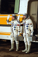 0351146 © Granger - Historical Picture ArchiveSOYUZ PROGRAM, 1978.   International space crew of Soyuz 36 spacecraft, Soviet cosmonaut Valeri Kubasov and Hungarian spaceman Bertalan Farkas, at the Baikonur Cosmodrome in Kazakhstan, 1978. Full credit: ITAR-TASS Photo Agency / Granger, NYC -- All Rights Reserved.