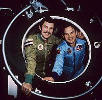 0351161 © Granger - Historical Picture ArchiveSOYUZ PROGRAM, 1980.   International space crew of Soyuz 36 spacecraft, Soviet Valeri Kubasov and Hungarian Bertalan Farkas, 1980. Full credit: ITAR-TASS Photo Agency / Granger, NYC -- All Rights Reserved.
