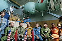 0351189 © Granger - Historical Picture ArchiveAPOLLO-SOYUZ, 1974.   Soviet and American cosmonauts, Alexey Leonov, Vladimir Shatalov, Thomas Stafford, Willy Brandt, Valeri Kubasov, and Anatoly Filipchenko, at the Yuri Gagarin Cosmonauts Training Center, Moscow, 1974. Full credit: ITAR-TASS Photo Agency / Granger, NYC -- All rights reserved.