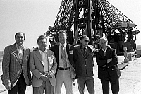 0351326 © Granger - Historical Picture ArchiveAPOLLO-SOYUZ, 1975.   Reserve crew members posing for a group photo on a launch pad at the Baikonur Cosmodrome in Kazakhstan. Pictured from left are Ron Evans, Anatoly Filipchenko, Jack Lousma, Allan Bean, and Nikolai Rukavishniko, 1975. Full credit: ITAR-TASS Photo Agency / Granger, NYC -- All righ