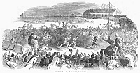 0101066 © Granger - Historical Picture ArchiveFOOT RACE, 1844.   Three and ten-mile races at Hoboken, New Jersey, 19 November 1844, attracted huge crowds. Wood engraving from a contemporary English newspaper.