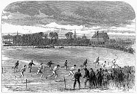 0101080 © Granger - Historical Picture ArchiveENGLAND: FOOT RACE, 1866.   The two-mile foot race at Qxford during the Oxford and Cambridge athletic sports events. Wood engraving, English, 1866.