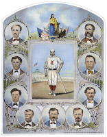 0041164 © Granger - Historical Picture ArchiveCINCINNATI BASEBALL TEAM.   The First Nine of the Cincinnati (Red Stockings) Base Ball Club: lithograph, 1869.