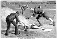 0072545 © Granger - Historical Picture ArchiveBASEBALL GAME, 1885.   New York Giants' catcher William 'Buck' Ewing slides home safely under Chicago White Stockings catcher Silver Flint to score the winning run in a 1-0 game at the Polo Grounds, New York, 6 August 1885. Wood engraving after Thure de Thulstrup from a contemporary American newspaper.