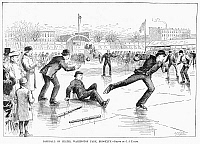 0101150 © Granger - Historical Picture ArchiveBASEBALL ON ICE, 1884.   Playing baseball on ice skates at Washington Park, Brooklyn. Wood engraving, American, 1884.