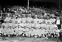 0120456 © Granger - Historical Picture ArchiveBOSTON RED SOX, 1916.   Team photo of the Boston Red Sox, 1916. Babe Ruth is seated in the front row, center.