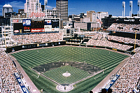 0128985 © Granger - Historical Picture ArchiveCLEVELAND: JACOBS FIELD.   The home of the Cleveland Indians baseball team in Cleveland, Ohio. Photograph, c2000.