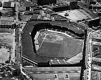 0169827 © Granger - Historical Picture ArchiveBOSTON: FENWAY PARK.   Aerial view of Fenway Park in Boston, Massachusetts, home of the Boston Red Sox. Photographed by Leslie Jones, c1945.