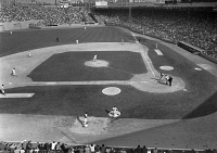 0169829 © Granger - Historical Picture ArchiveBASEBALL GAME, 1967.   Game between the Boston Red Sox (in the field) and the Minnesota Twins at Fenway Park in Boston, Massachusetts, on the last day of the regular season, 1 October 1967, won by the Red Sox 5-3 to clinch the American League pennant.