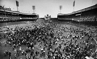 0169836 © Granger - Historical Picture ArchiveNEW YORK: POLO GROUNDS.   Crowd of baseball fans pouring onto the field at the Polo Grounds in New York City after attending the New York Giants' final game, a 9-1 loss to the Pittsburgh Pirates, 29 September 1957. The team would begin playing in San Francisco, California, the following season.