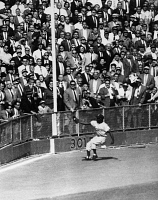0170440 © Granger - Historical Picture ArchiveWORLD SERIES, 1955.   Left fielder Sandy Amoros of the Brooklyn Dodgers catches a deep fly ball hit by Yogi Berra of the New York Yankees in the sixth inning of the final game of the 1955 World Series, at Yankee Stadium in the Bronx, New York City. Photograph, 4 October 1955.