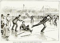 0216954 © Granger - Historical Picture ArchiveBASEBALL ON ICE, 1884.   Playing baseball on ice skates at Washington Park, Brooklyn. Wood engraving, American, 1884.