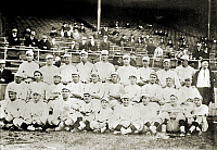 0216995 © Granger - Historical Picture ArchiveBOSTON RED SOX, 1916.   Team photo of the Boston Red Sox, 1916. Babe Ruth is seated in the front row, center.