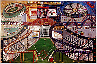 0259797 © Granger - Historical Picture ArchiveFASANELLA: POLO GROUNDS.   'Polo Grounds' baseball park in New York City. Oil painting by Ralph Fasanella, 1947. EDITORIAL USE ONLY.