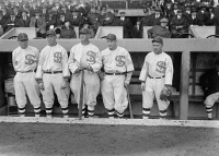 0324291 © Granger - Historical Picture ArchiveCHICAGO WHITE SOX, 1917.   Chicago White Sox players Eddie Murphy, John 'Shano' Collins, Shoeless Joe Jackson, Happy Felsch, and Nemo Leibold at 1917 World Series. Photograph, 1917.